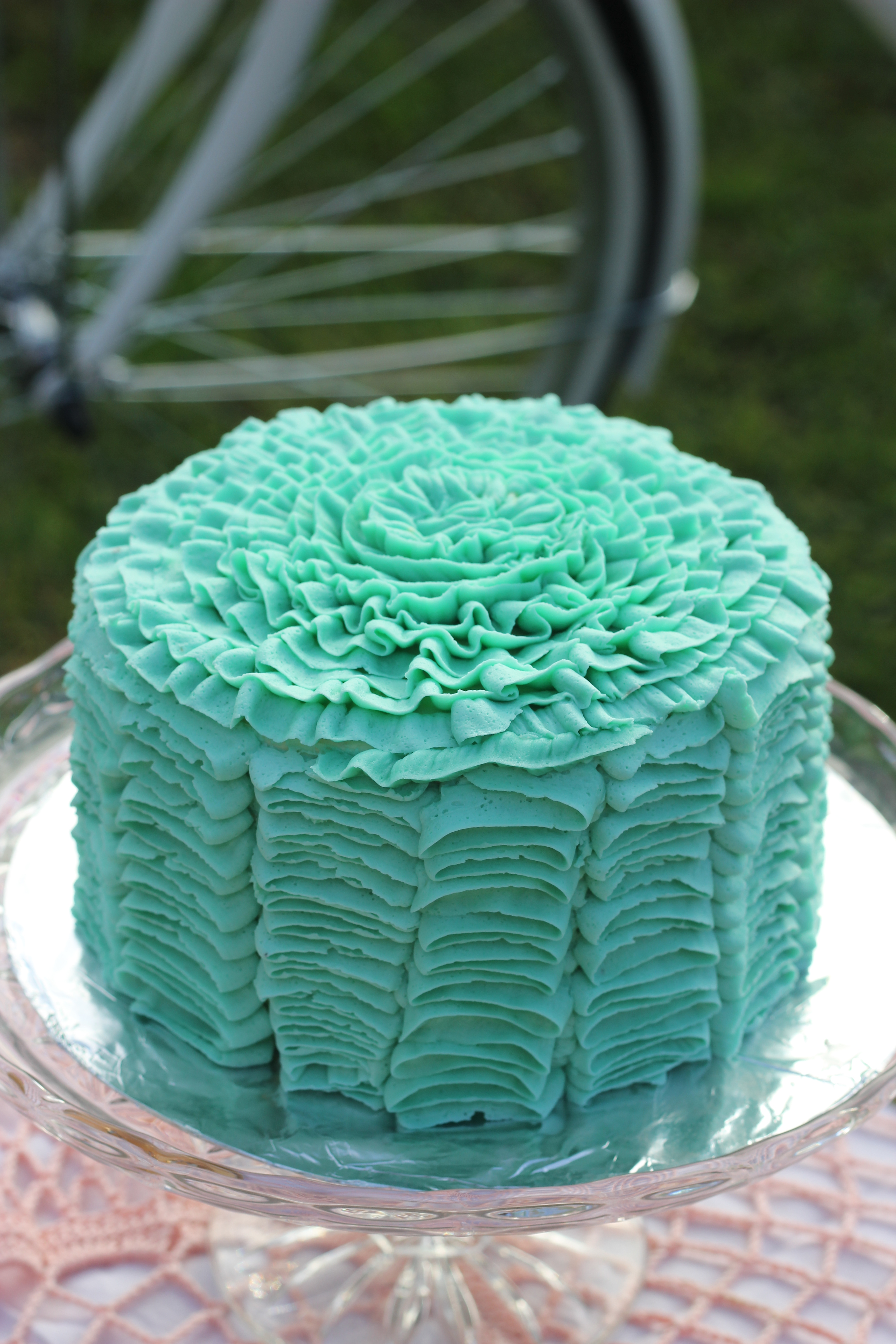 Turquoise Ruffle Cake More Joy